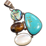 Turquoise Pendant, Sterling Silver, Vintage Pendant, Tiger Eye, Abalone Shell, Mother of Pearl