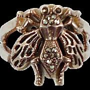 Bee Ring, Marcasite Stones, Sterling Silver, Vintage Ring, Statement, Size 7 1/2, Unique Unusu