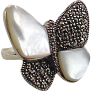 Butterfly Ring, Sterling Silver, Marcasite Ring, Mother of Pearl, MOP Shell, Vintage Jewelry,