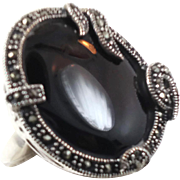 Black Onyx Ring, Marcasite, Sterling Silver, Vintage Jewelry, Big Statement, Size 8, Black Rin