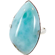 Blue Larimar Sterling Silver Ring - Vintage Big Dolphin Stone - Size 9 - InVintageHeaven