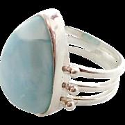 Big Blue Stone, Larimar Ring, Sterling Silver, Vintage Ring, Statement, Size 8 1/4, Bohemian,