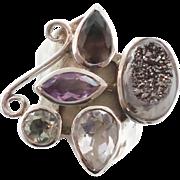 Druzy Ring, Sterling Silver, Multi Stone, Amethyst, Smokey Quartz, Peridot, Vintage Ring, Stat