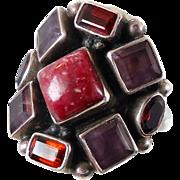 Garnet Ring, Amethyst, Multi Gemstone Ring, Vintage Ring, Sterling Silver, Mixed Stones, Big S
