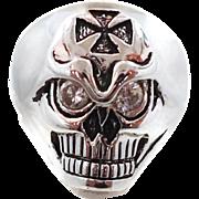 Skull Ring, Vintage Ring, Sterling Silver, Gothic Jewelry, Biker Ring, Mens Mans, Statement, U