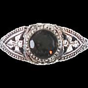 Smokey Quartz, Smoky, Sterling Silver, Vintage Ring, Ornate, Filagree, Size 6, Art Deco Inspir