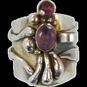 Amethyst Ring, Tourmaline, Sterling Silver, Vintage Ring, Studio, Wide Big, Unique Modern, Bru