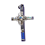 Sweet Sterling & Rhinestone Cross – Filigree Flower Center