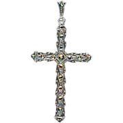 Dazzling European Marcasite & 935 Silver Cross – Fancy Bail
