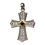 Elegant Sterling Vermeil & CZ Cross Pendant – Genuine Sapphire Center