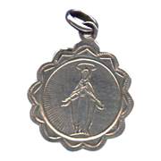 Folk Art Stamped Silver Medal of Our Lady – Scalloped Edge - Hallmarked