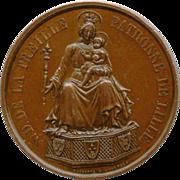 Rare 1854 Bronze Medallion – Notre Dame de la Treille – Signed – 600 Year Jubilee