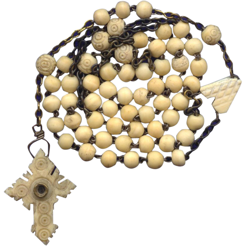 Rare French Bone Rosary – Stanhope Crucifix with WWI Victory Sites