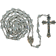 1950s Classic Gloria Sterling & Rock Crystal Rosary – Excellent Condition & Patina – 44 Grams