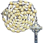 Earthy Bone & Brass Vintage Rosary – Crown of Thorns Crucifix