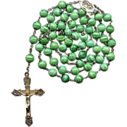 Gorgeous Sterling & Vermeil Rosary – Green Swirl Spun Glass Beads – Roma – Hallmarke