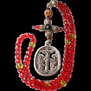 Antique 7-Decade German Rosary – 800 Silver Crucifixion Medal – Memento Mori