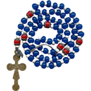 SOLD Colorful 19C 6-Decade Brigittine Rosary with Rare 2-Sided Brass Crucifix