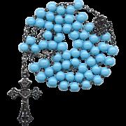 Fabulous French Art Nouveau Silver & Opaque Blue Glass Rosary – Black Patina