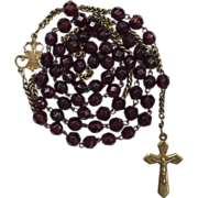 Glowing Art Nouveau Brass & Garnet Glass Rosary