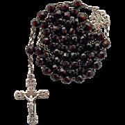 Petite Napoleon III Garnet Glass & Silver Rosary – Lyon