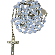 Charming Mariazell Pilgrimage Rosary – Icy White Translucent Glass – Germany