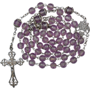 Fine Art Nouveau Frosted Grape Glass Rosary – French Hallmarks – 44 Grams