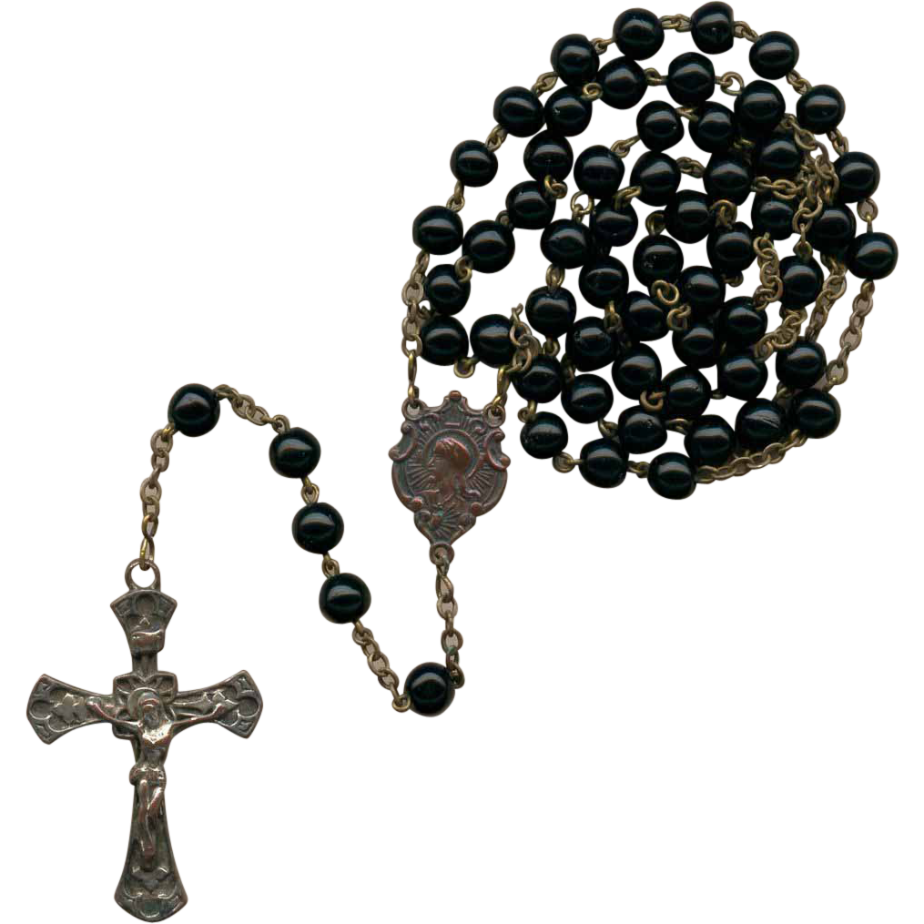 Charming Edwardian Black Glass Rosary – Canada