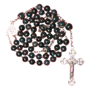 Stunning Faux Bloodstone Art Glass Rosary - French Hallmarks - 46 Grams