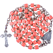 1800s Orange Paste Glass & Silvered Steel Rosary – Rare 2-Sided Stamped Crucifix with St