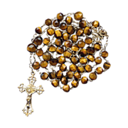 Fabulous French Tiger Eye Art Nouveau Rosary – Gold Vermeil