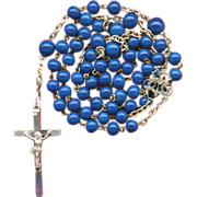 SOLD Serene C. 1900 Faux Lapis Art Glass & Silver Rosary – French Crab Hallmark