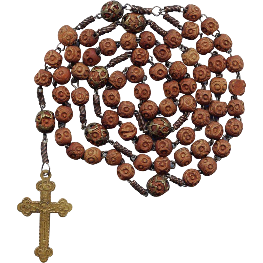 Rare 19C Brigittine 6-Decade Rosary – All Rosette Beads & Stamped Brass Crucifix