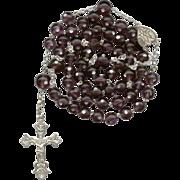 Outstanding Venetian Dot Glass & Silver Victorian Rosary – 52 Grams