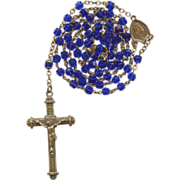 Regal Copper & Cobalt Glass Rosary – Czechoslovakia