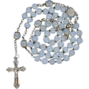 Ethereal Victorian Opal Glass & Silver Rosary – Face of Christ Center – 44 Grams
