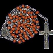 Vibrant Victorian Coral & Silver Rosary