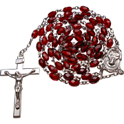 Elegant Sterling & Ruby Red Crystal Rosary – NOS