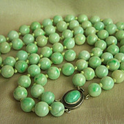 SALE Estate Chinese 2 strands jadeite jade beads necklace with jade cabochon silver clasp