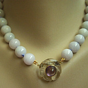 "SALE ONE OF A KIND Lavender Jadeite Jade 14kt Amethyst Rock Crystal Pendant Clasp Necklace 18"""