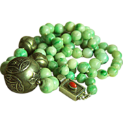 SALE ONE OF A KIND necklace with antique jadeite jade beads and Chinese silver beads ...
