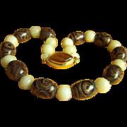SALE Amazing Vintage Chinese/Tibet Dzi Agate Beads Chinese Celadon Jade Beads Necklace 22.5 ..