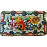 Micro Mosaic Rectangular Brooch Pin - Italy - Vivid Colors