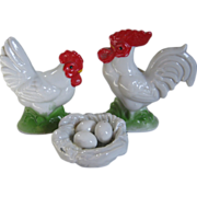 Miniature Glazed Bisque Rooster & Hen w/ Nest of Eggs For Doll House / Farm Scene