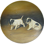 Original Dog Painting - Two Terriers and Bug - Papier Mache Plate Ca. 1890 / 1910