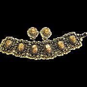 SALE Chunky Filigree Bracelet & Earrings W/ Mocha Swirl Plastic Stones