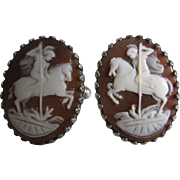 Sterling Silver Shell Cameo Cuff Links - St. George & The Dragon