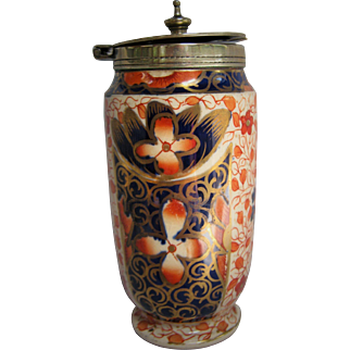 SALE Vintage Imari Footed Mustard Pot Container With Cover