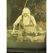 Framed RPPC Portrait Of Identified Ancient Fisherman Ca. 1899