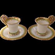 Richard Klemm Dresden Fine Porcelain Demi Tasse Cups & Saucers